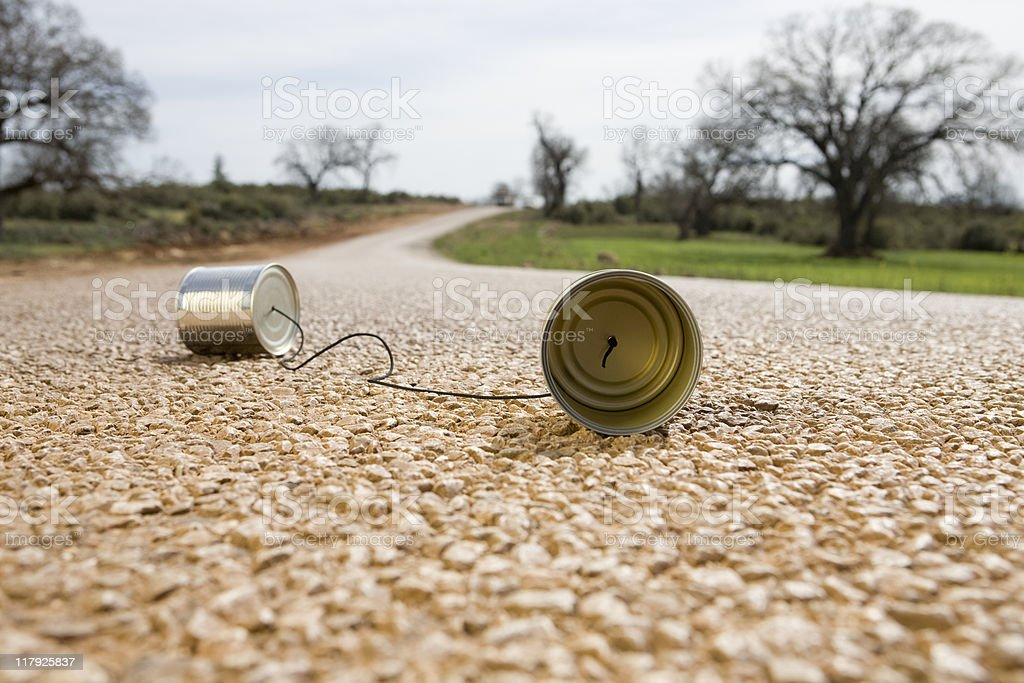 Tin Can Phone On The Road, Outdoor Shot stock photo