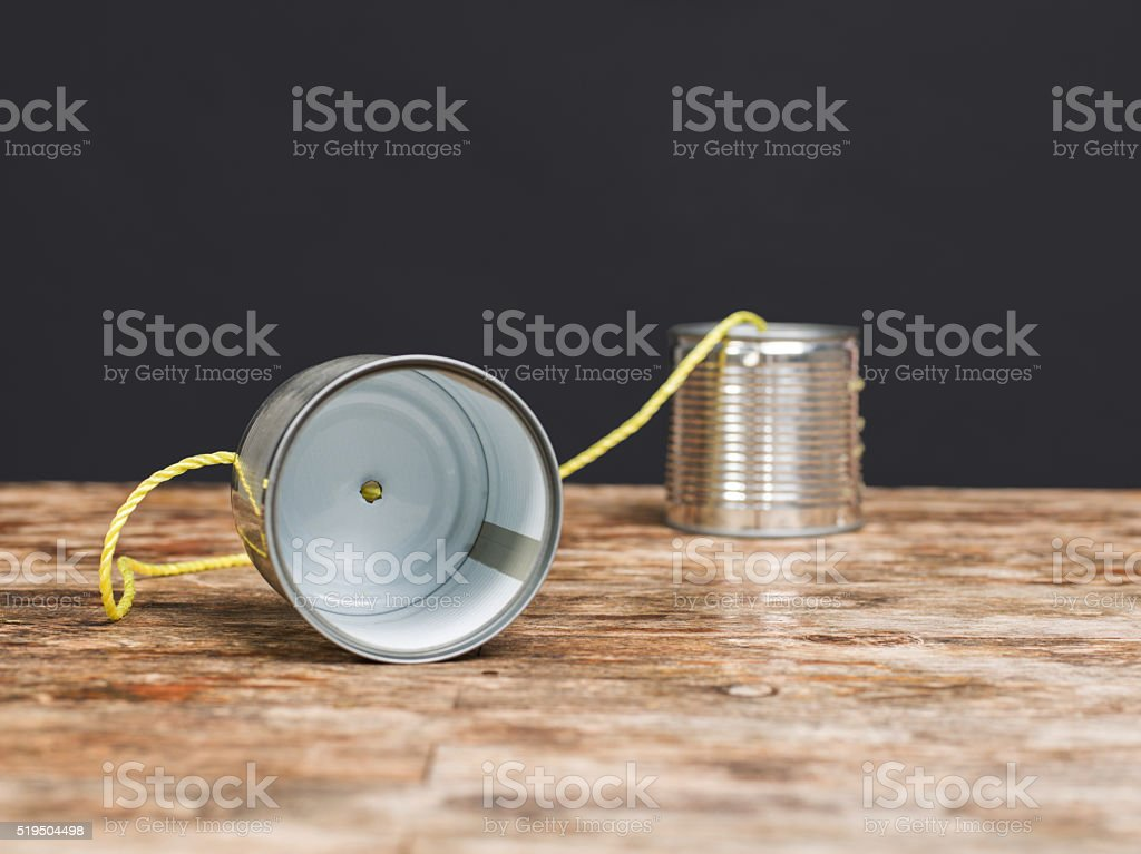 Tin Can Phone stock photo