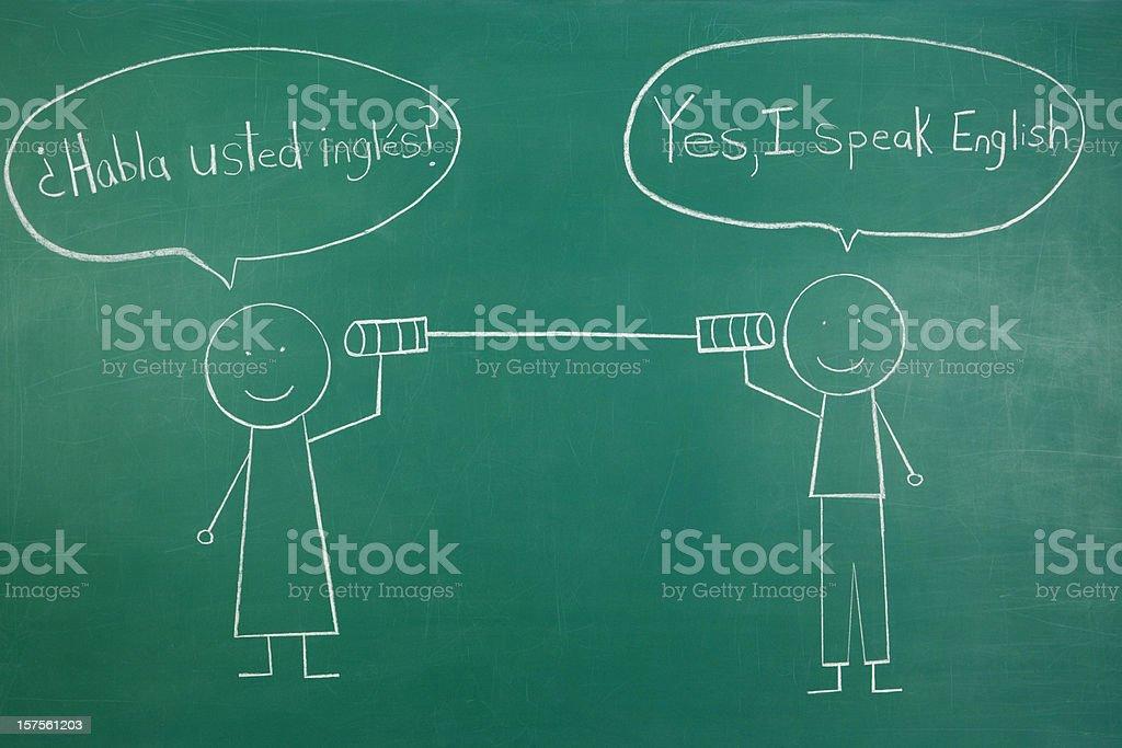 Tin Can Phone Spanish and English Conversation royalty-free stock photo