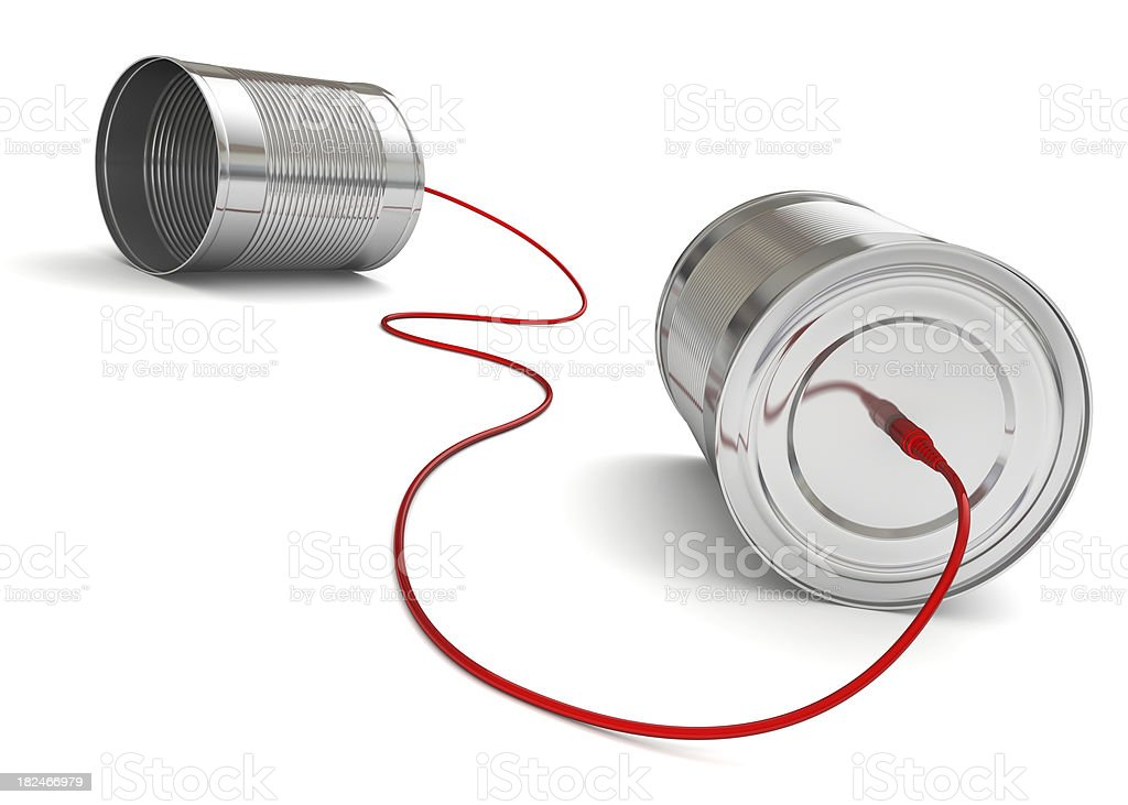 Tin Can Phone with red computer cable stock photo