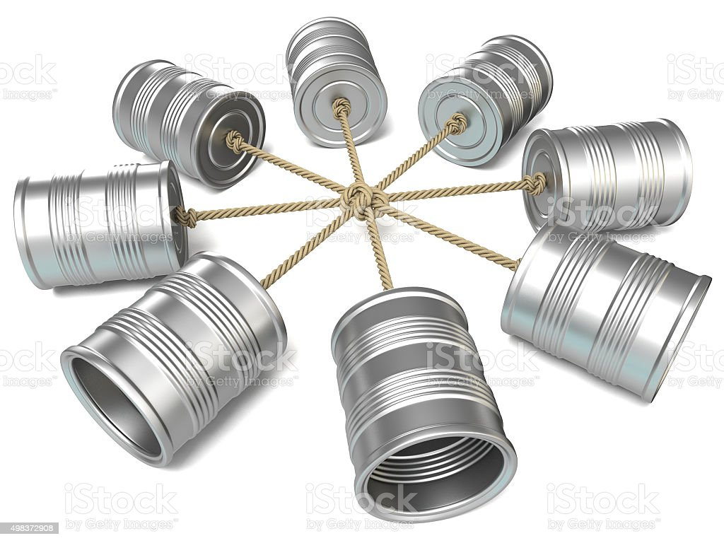 Tin can phones connected to each other. 3D render stock photo