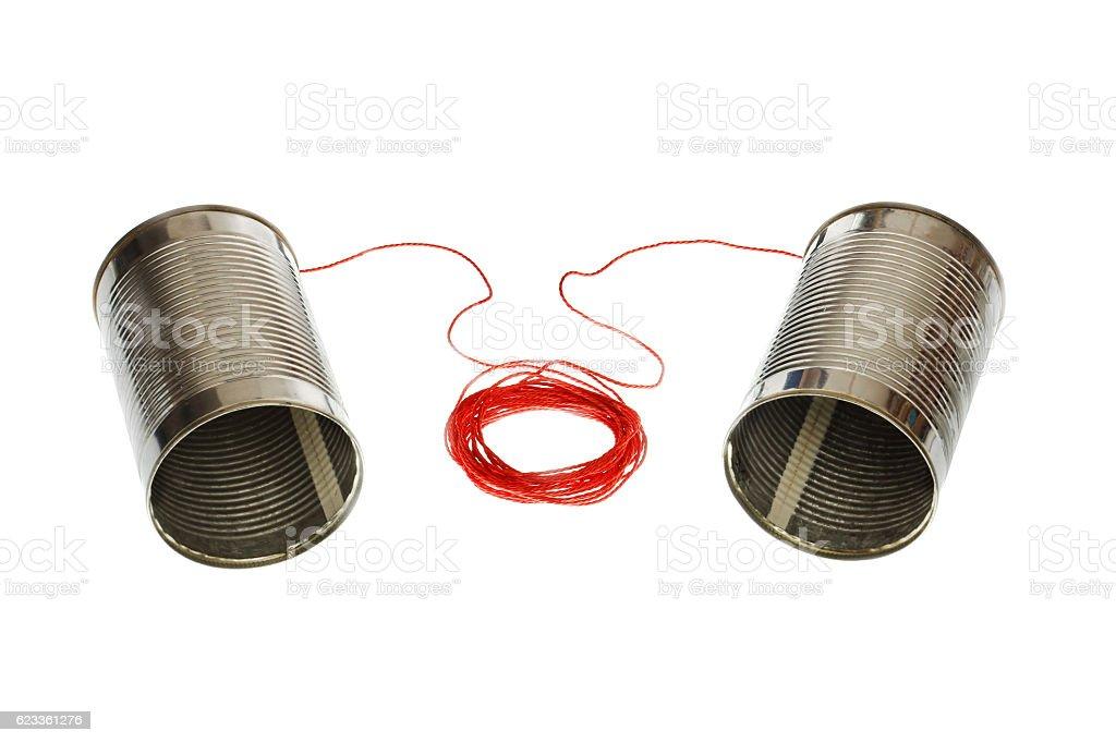 Tin can phones stock photo