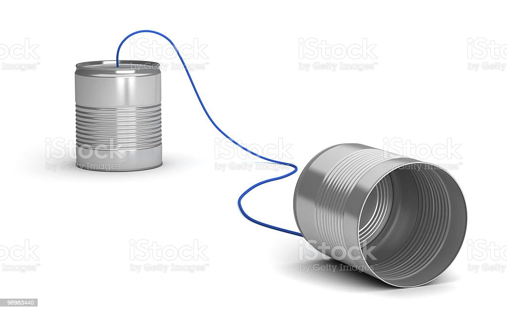 A tin can telephone on a white background stock photo