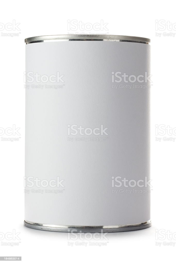 Tin can with a blank label on a white background royalty-free stock photo