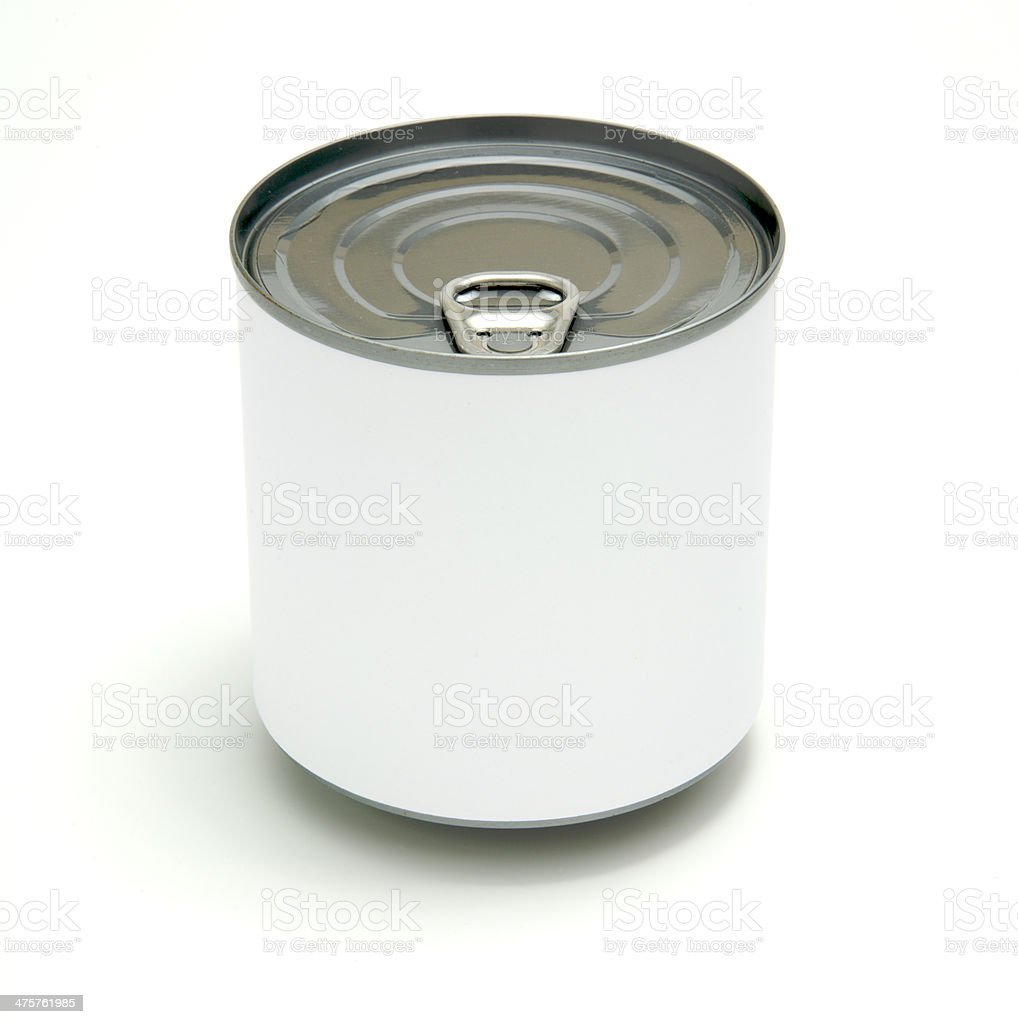 Tin can with blank white label royalty-free stock photo