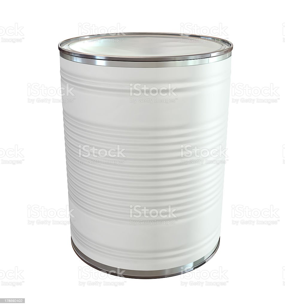 Tin Can with Label Perspective royalty-free stock photo