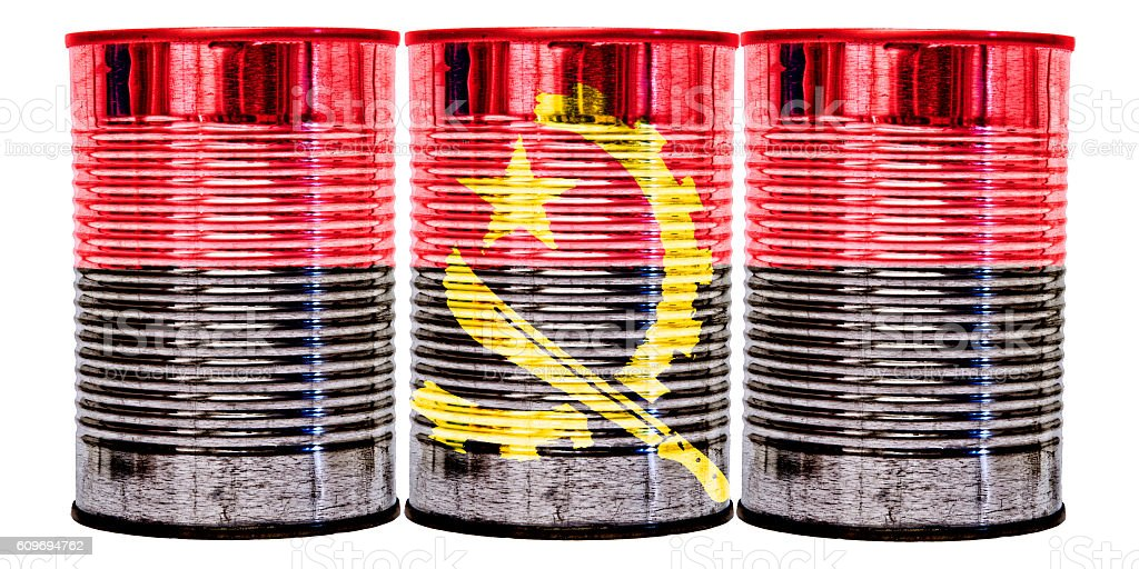 Tin Cans Flag of Angola stock photo