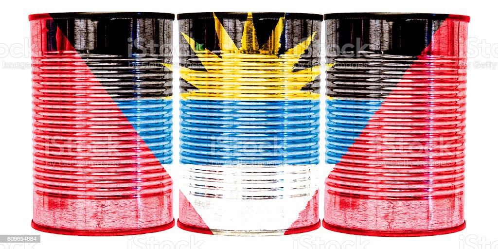 Tin Cans Flag of Antigua and Barbuda stock photo