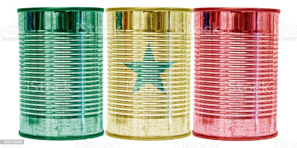 Tin Cans Flag of Senegal stock photo