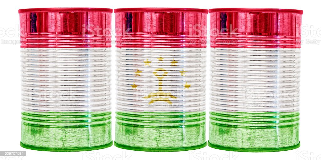 Tin Cans Flag of Tajikistan stock photo