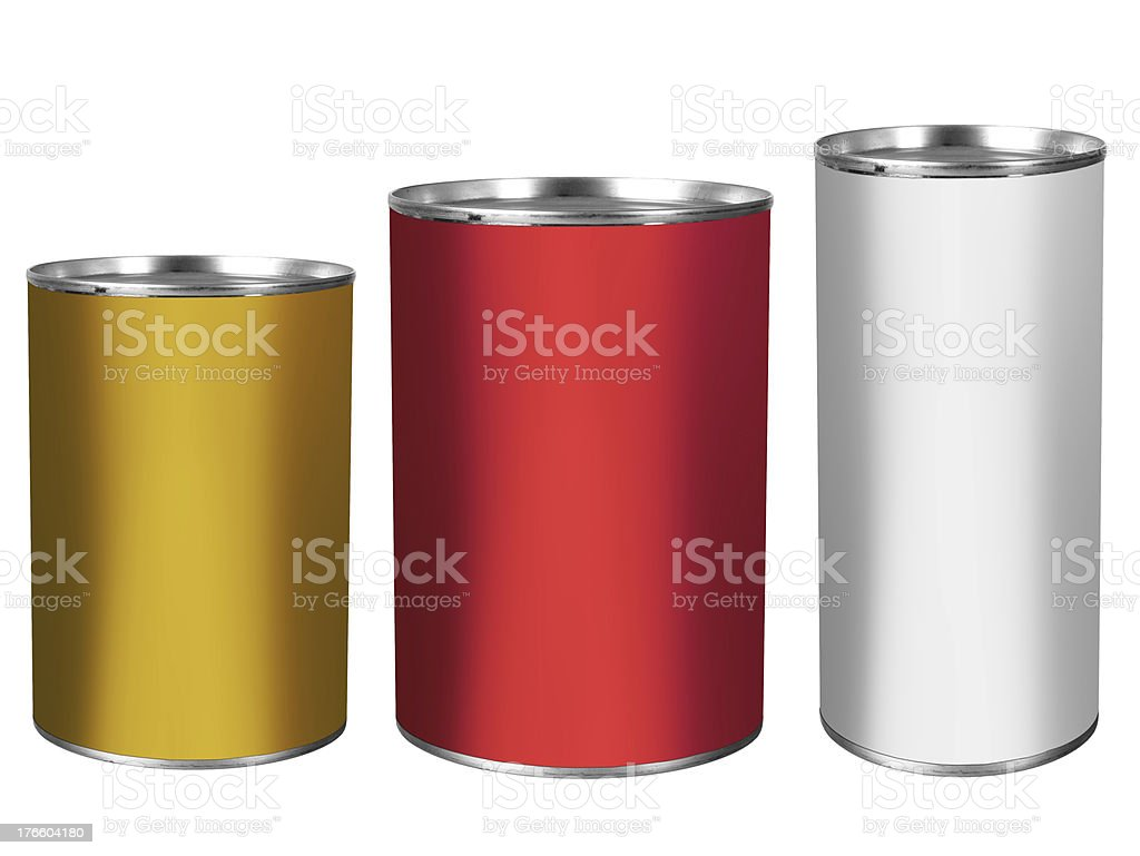 Tin cans, white background royalty-free stock photo