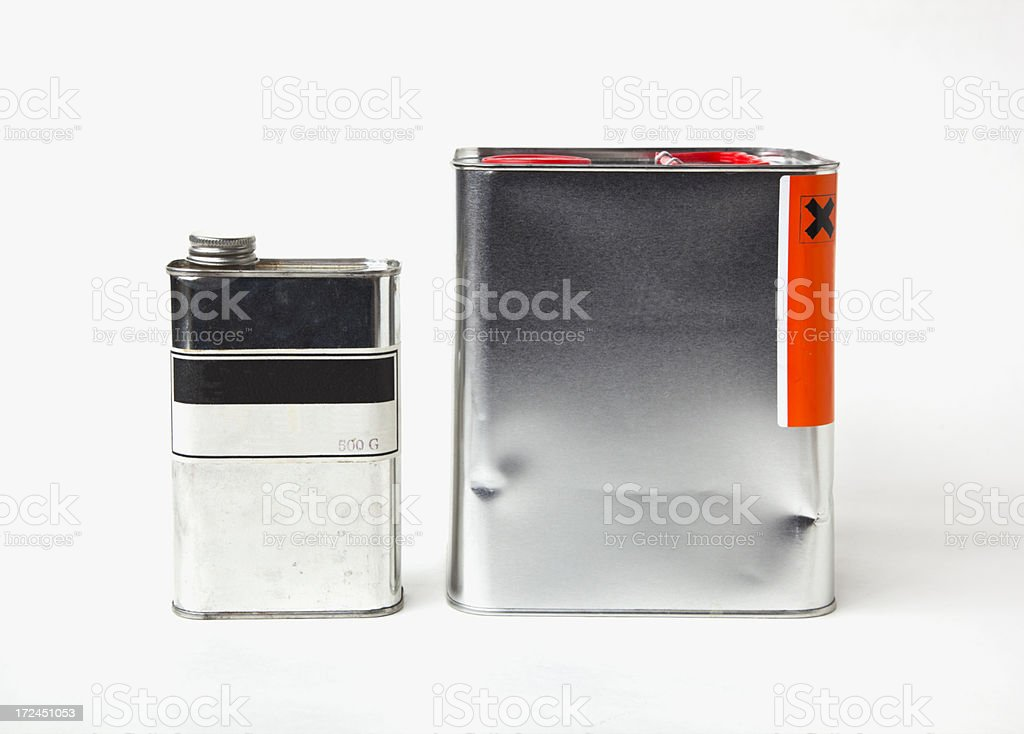 Tin cans with label. stock photo