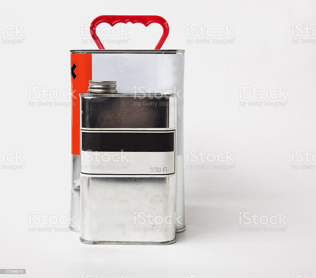 Tin cans with label. royalty-free stock photo