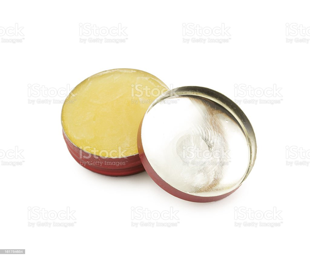 Tin of balm ointment for dry skin stock photo