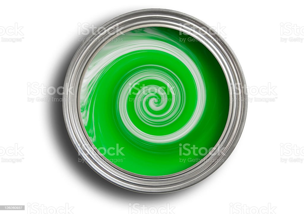 Tin of green paint being mixed on white with path royalty-free stock photo