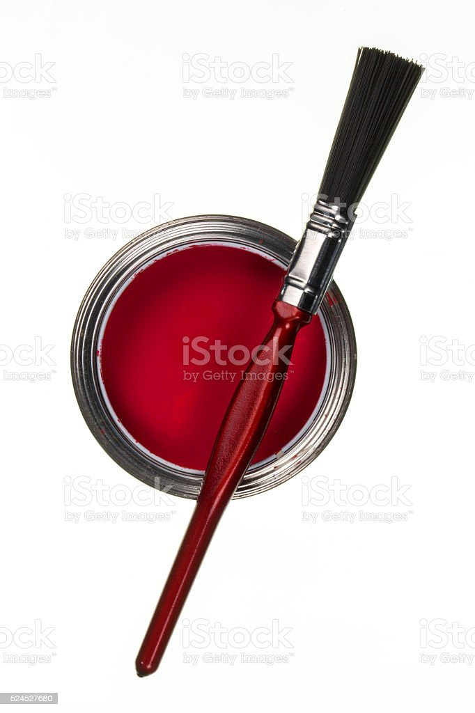 Tin of Red Paint and Brush stock photo