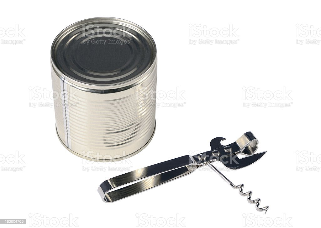 Tin opener and can royalty-free stock photo