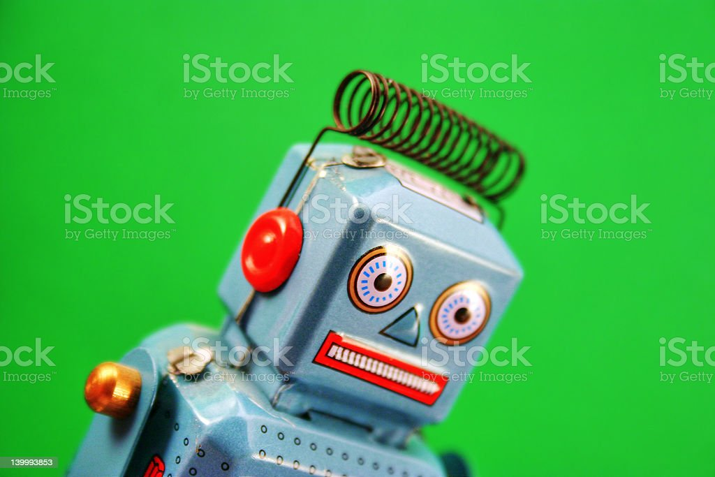 Tin Robot – Frazzled looking! royalty-free stock photo