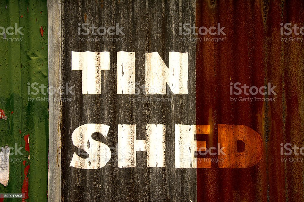 Tin Shed Wall stock photo