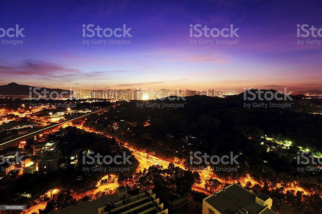 Tin Shui Wai Hong Kong at night stock photo