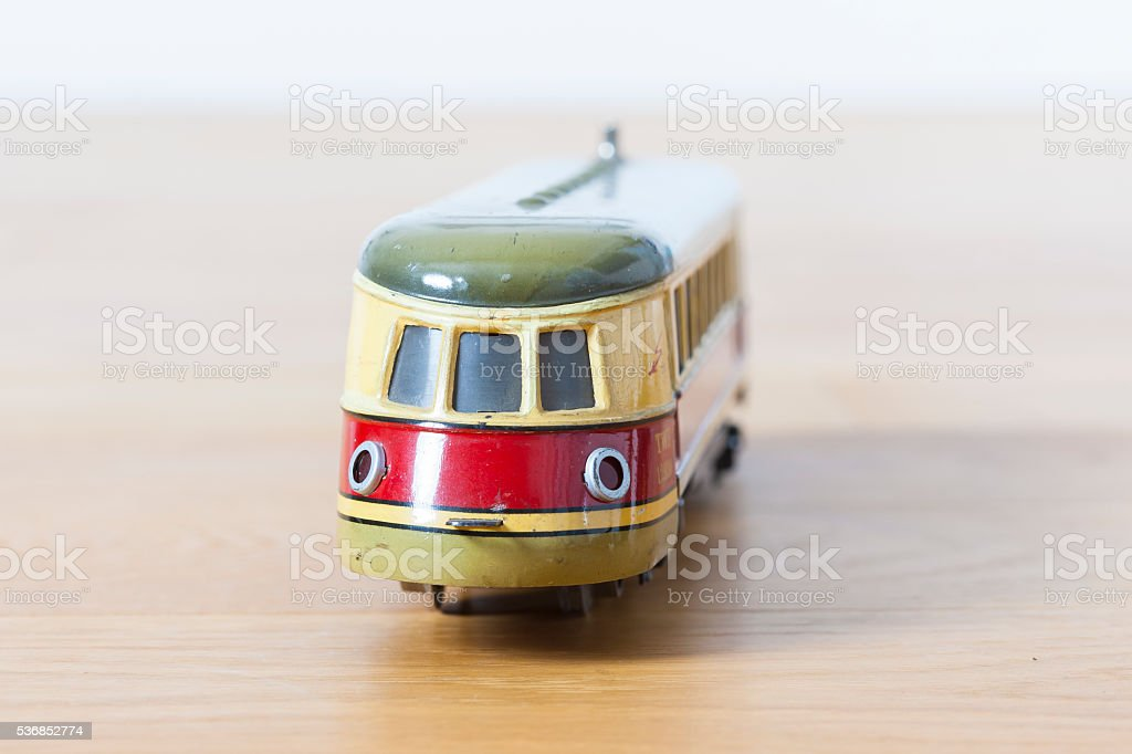 Tin toy historic locomotive stock photo