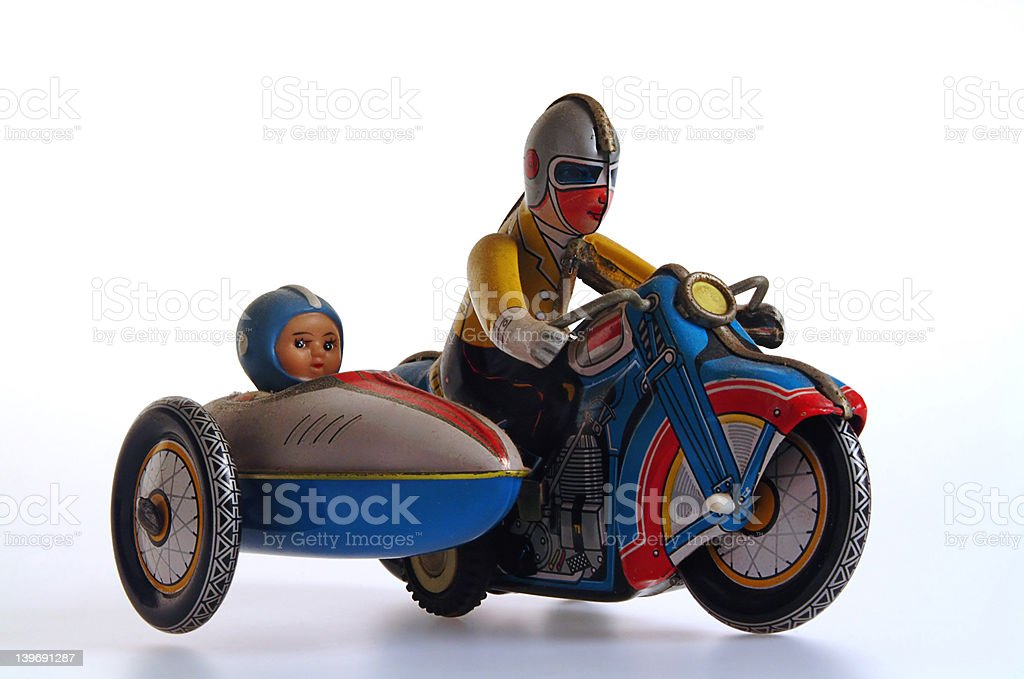 Tin Toy Motorcycle and Sidecar stock photo