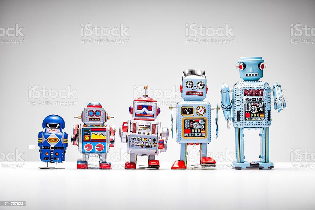 Tin toy robots stock photo