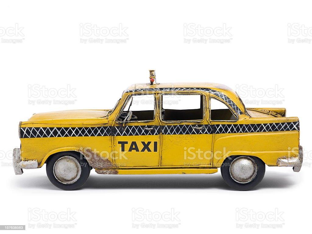 Tin toy taxi car stock photo