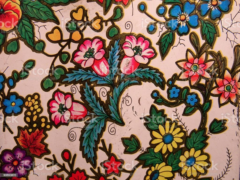 tin with a flower print royalty-free stock photo