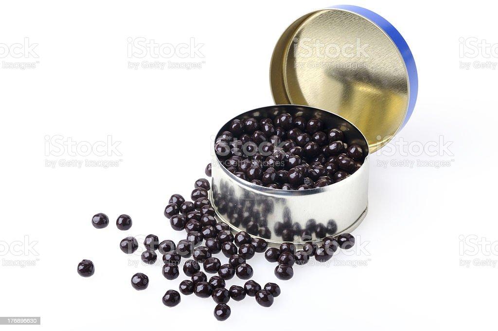 Tin with chocolate caviar stock photo