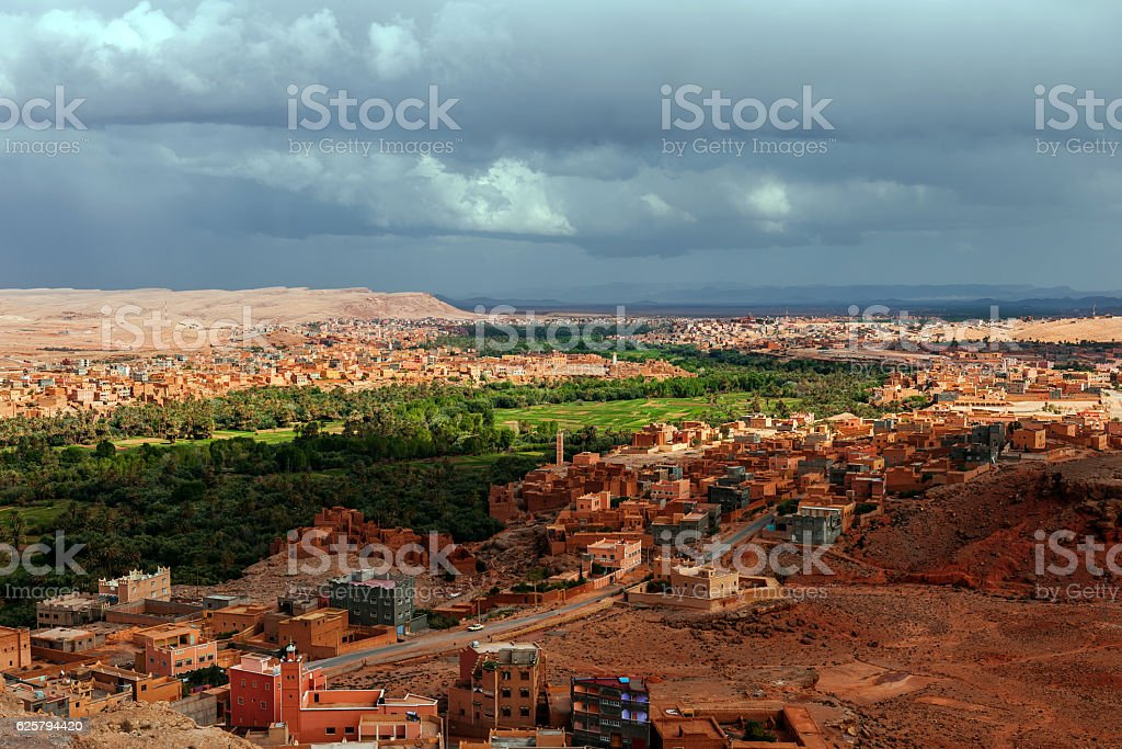 Tinghir.Gardens, palm trees, the city, the hills,Morocco Africa stock photo