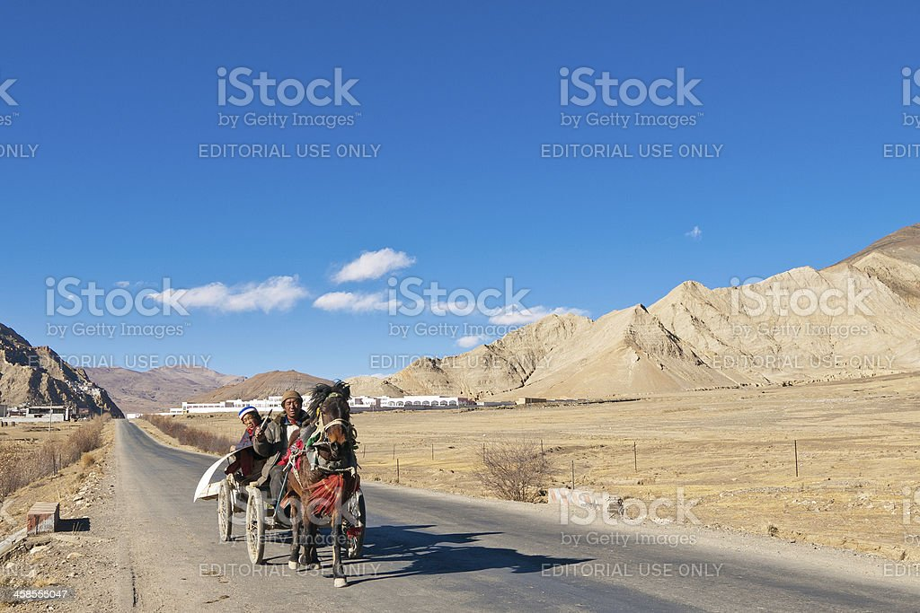 Tingri, Tibet in the late afternoon royalty-free stock photo