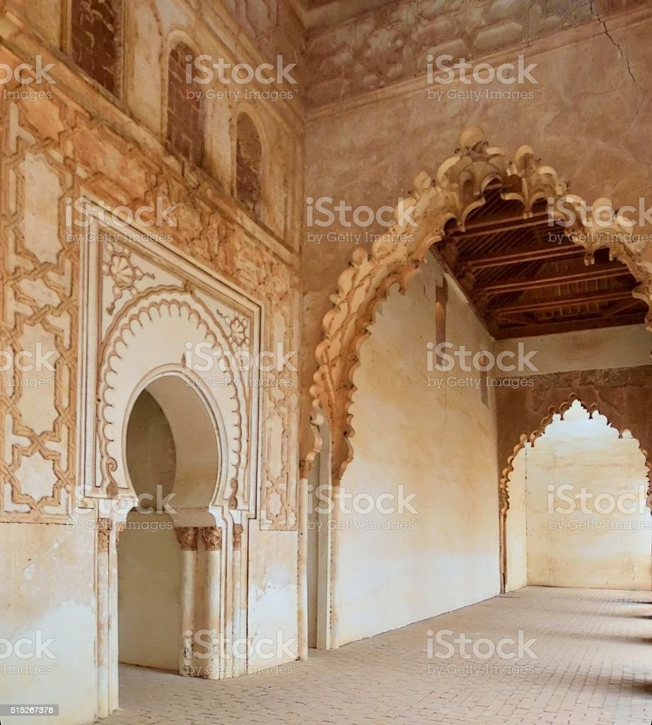 Tinmel Mosque Hallway Ornate Arches stock photo