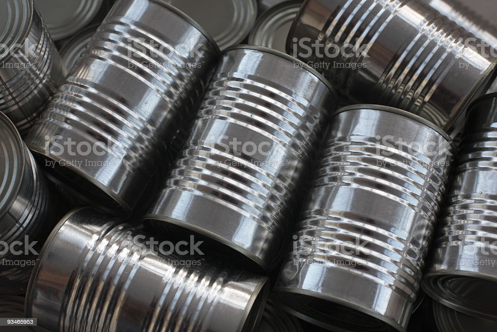 tinned food - generic steel cans / tins packaging royalty-free stock photo
