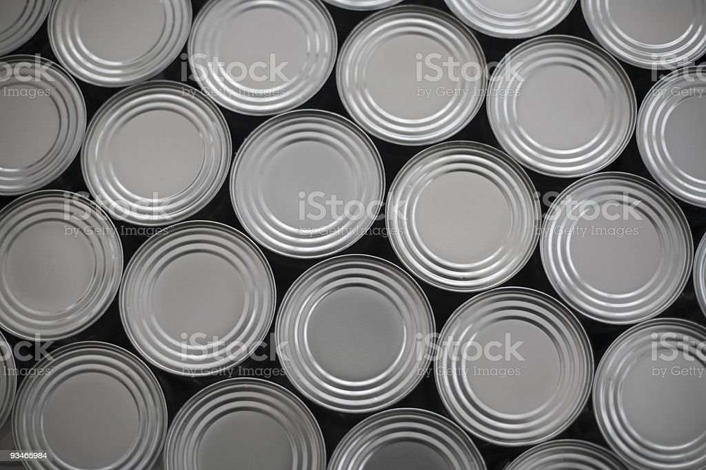 tinned food - generic steel cans / tins packaging stock photo