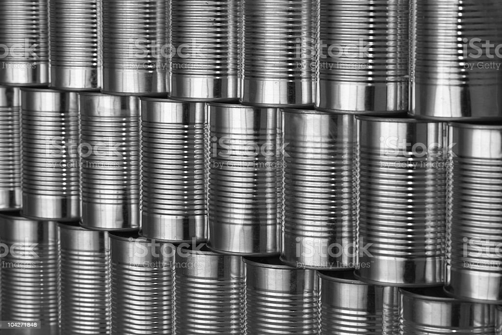 tinned food: generic steel cans / tins stacked in rows royalty-free stock photo
