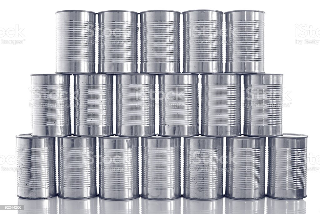 tinned food: generic steel tin cans stacked in rows stock photo