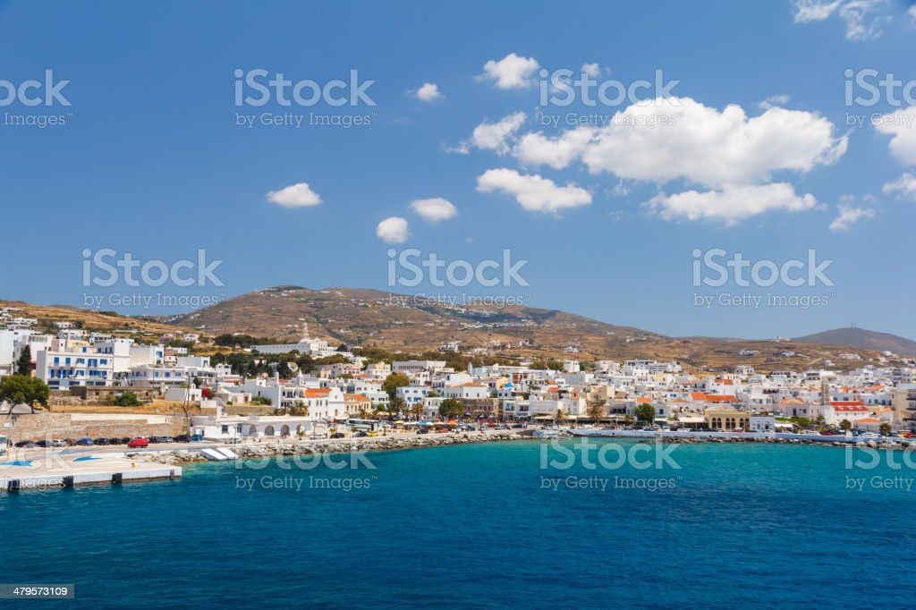 Tinos city and harbor in Greece stock photo