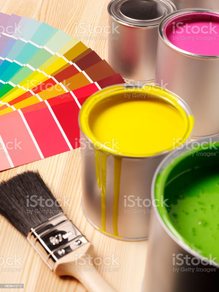 Tins of Paint and Samples royalty-free stock photo