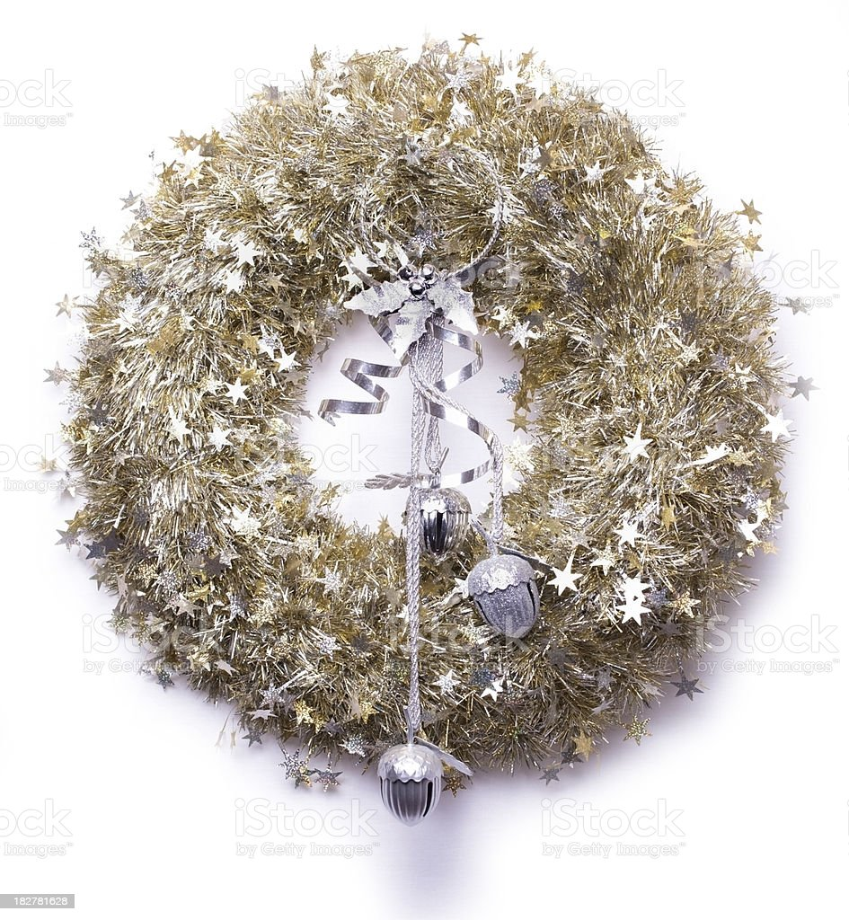 Tinsel, glitter and silver bells Christmas on wreath stock photo