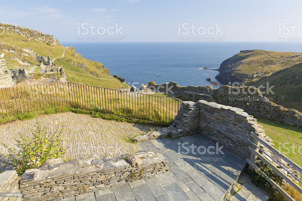 Tintagel Castle ruins Cornwall England with blue sea and sky royalty-free stock photo