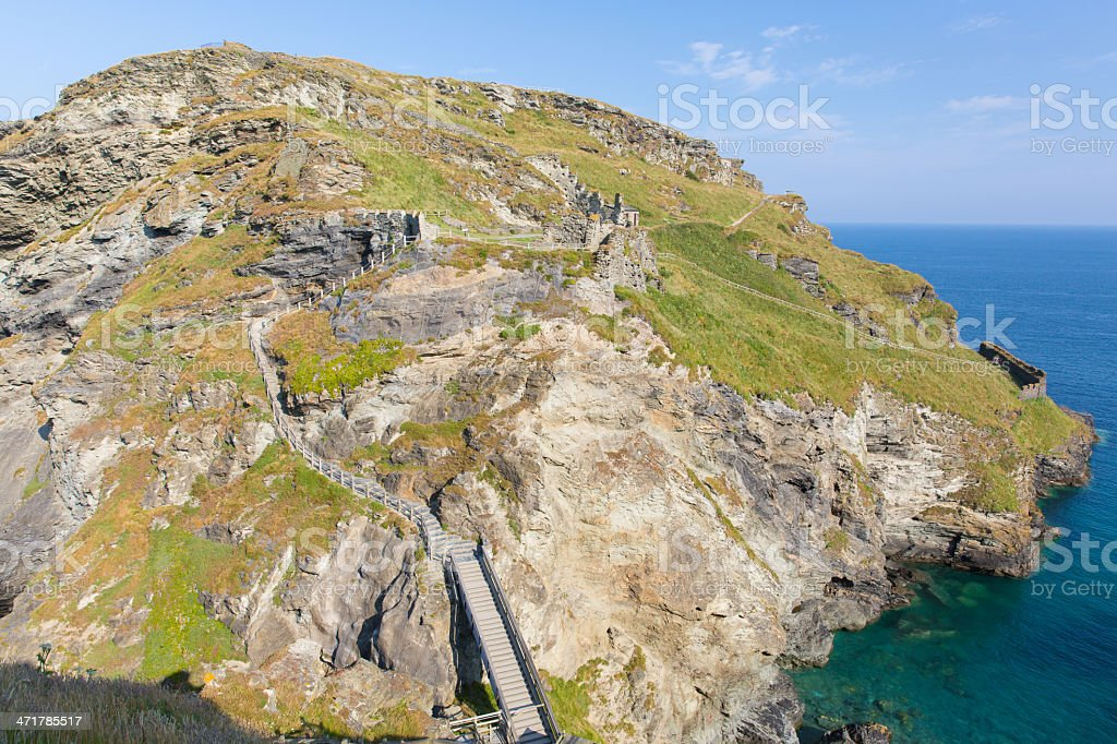 Tintagel Island Cornwall England where Norman castle is located royalty-free stock photo