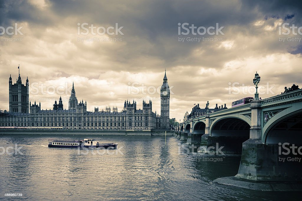 Tinted image of Westminster bridge and London Parlament stock photo