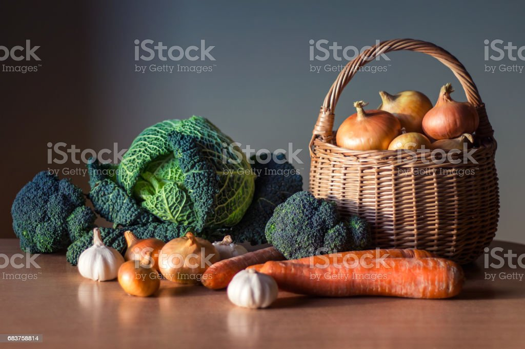 Tinted vegetables stock photo
