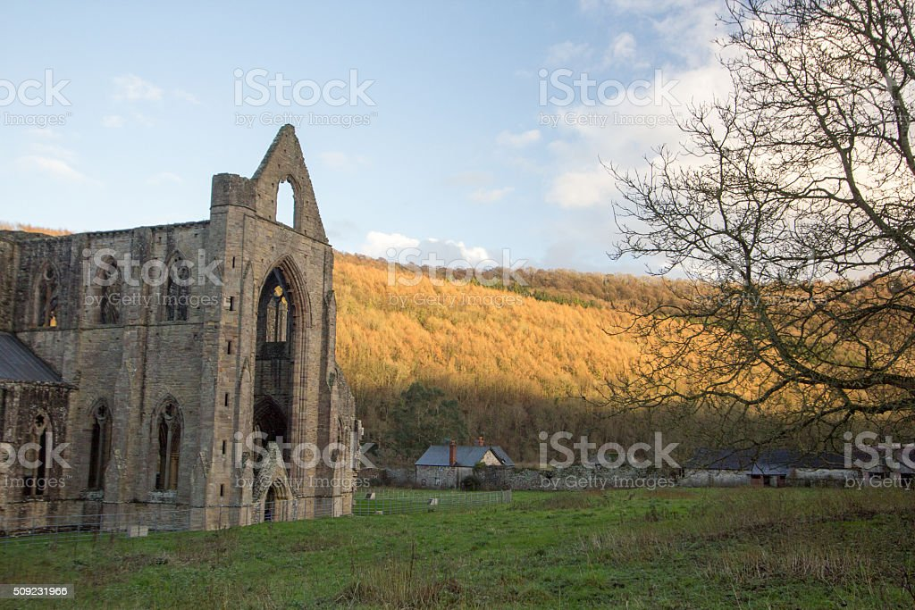 Tintern Abbey in Monmouthshire, Wales stock photo