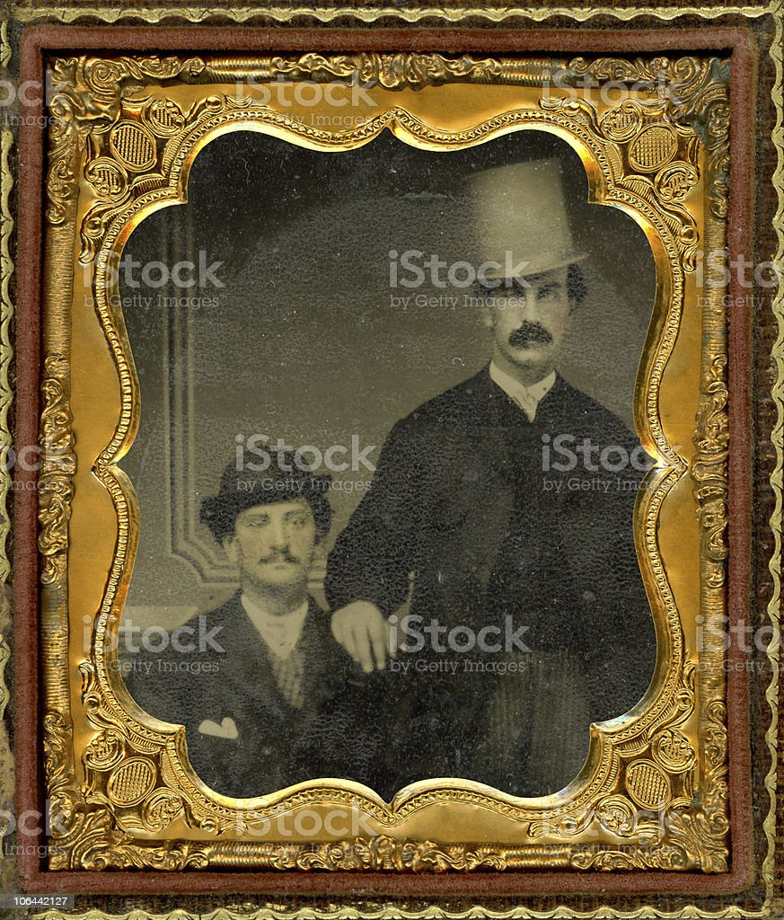 Tintype image of two men royalty-free stock photo