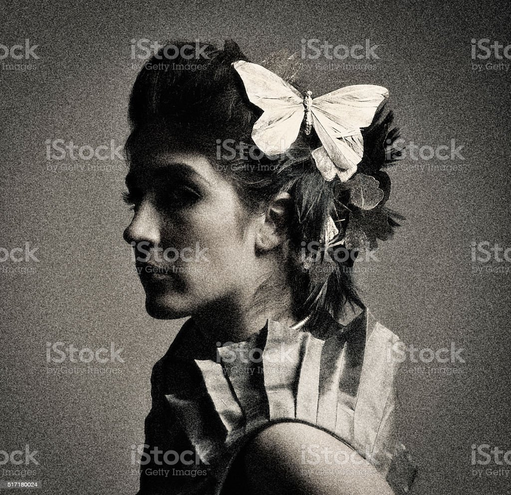 Tintype photo of a victorian young woman stock photo