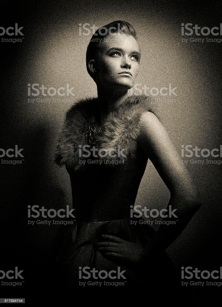 Tintype photo of woman with dramatic lighting stock photo