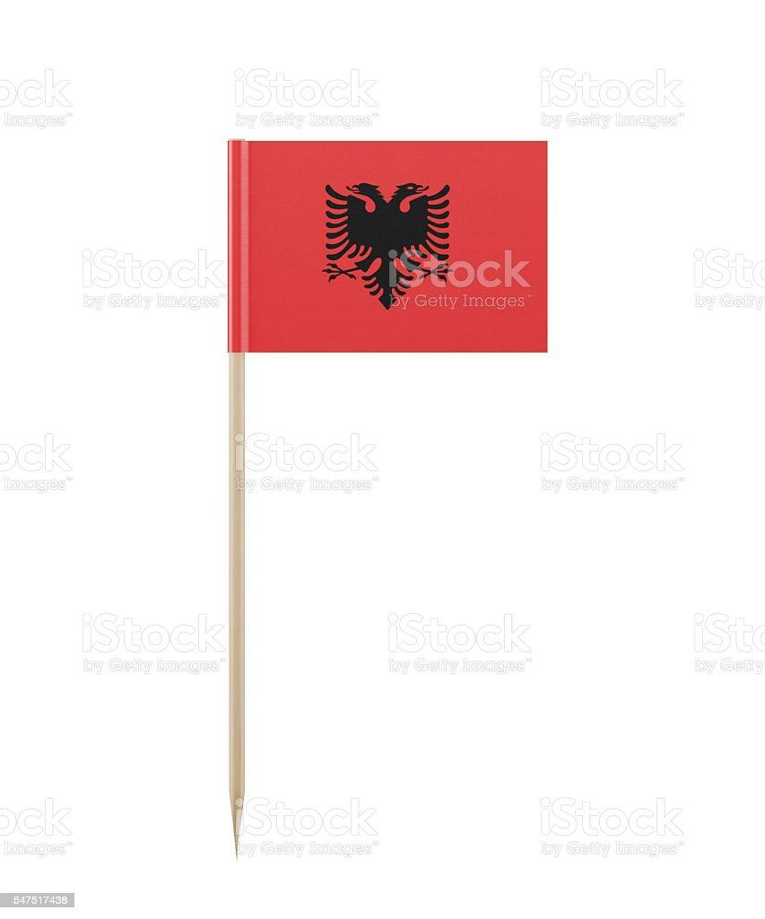 Tiny Albanian Flag on a Toothpick stock photo