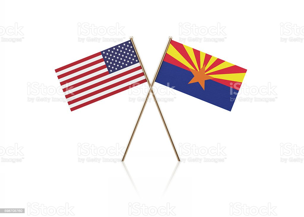 Tiny American and Arizona State Flag Pair on Gold Sticks stock photo